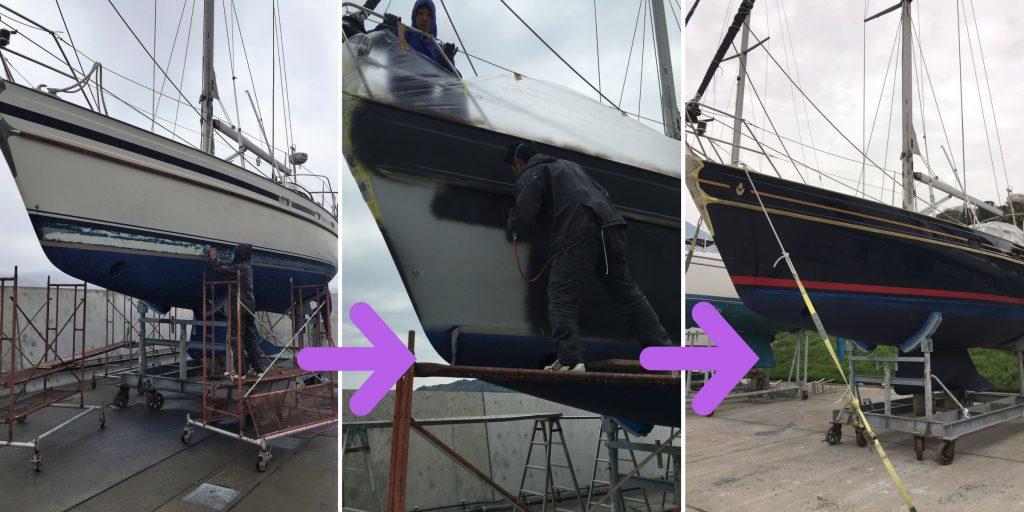 プレジャーボートのハル(側面)の塗装デザイン変更